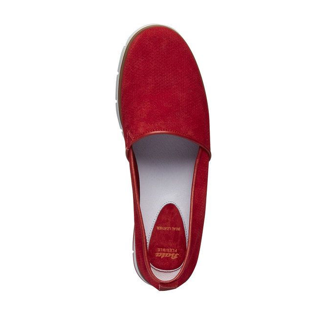 Leather Slip-ons with perforations flexible, red , 513-5200 - 19
