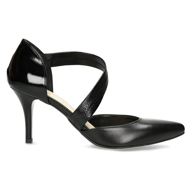 Leather pumps with T-strap bata, black , 724-6904 - 19