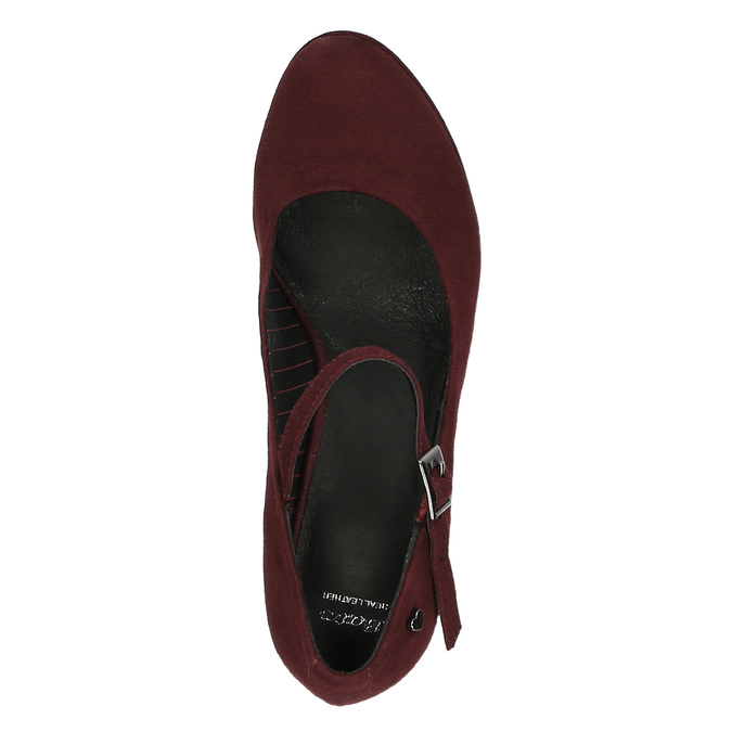 Burgundy pumps with a strap across the instep bata, red , 729-5601 - 19