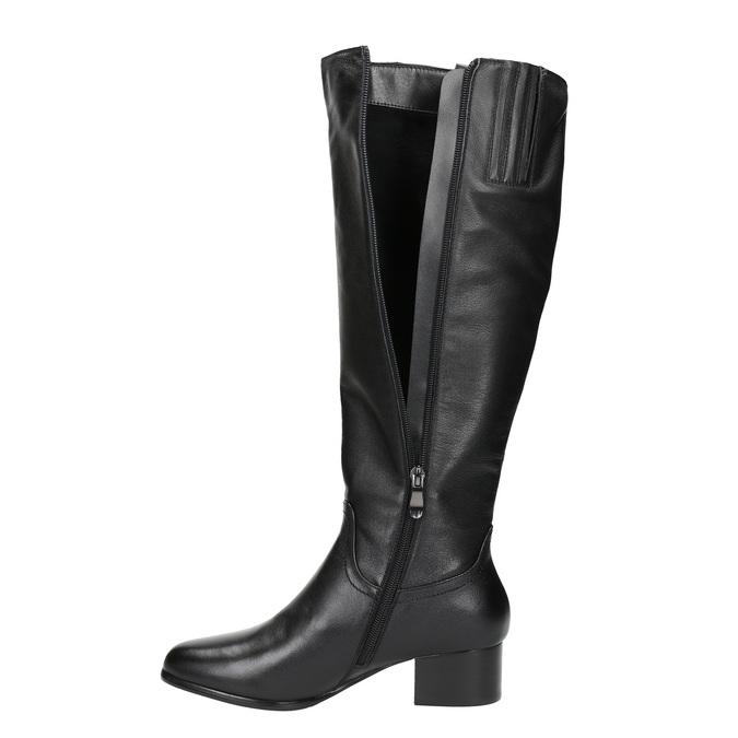 Ladies´ low-heeled leather Cossacks bata, black , 694-6634 - 19