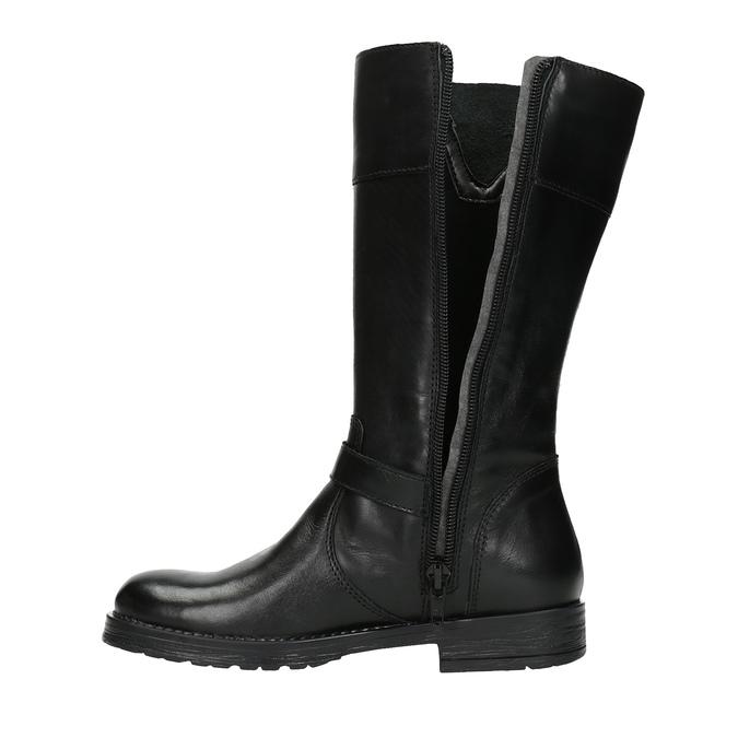 Girls' leather Cossacks mini-b, black , 394-6190 - 19