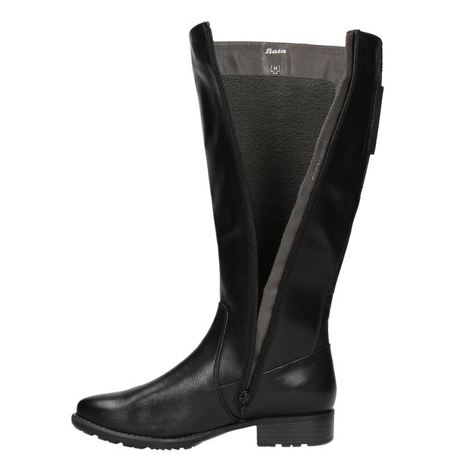 H-width black leather Cossacks bata, black , 596-6611 - 19