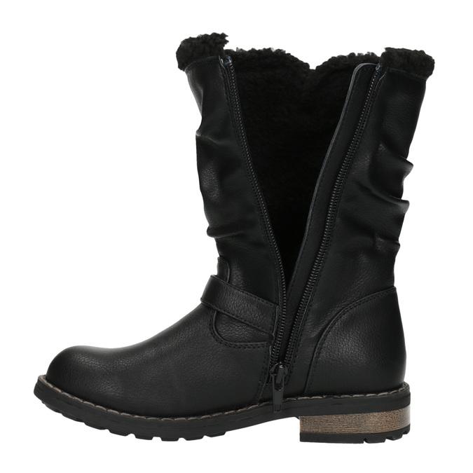 Girls' insulated high boots mini-b, black , 391-6653 - 19