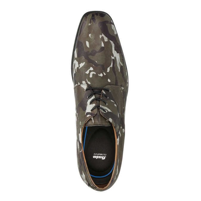 Leather shoes with camouflage pattern climatec, green, 826-7600 - 19