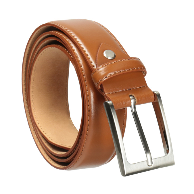 Men's brown leather belt, brown , 954-3153 - 13