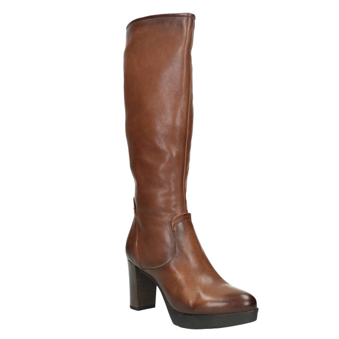 Ladies' leather heeled high boots bata, brown , 796-4643 - 13