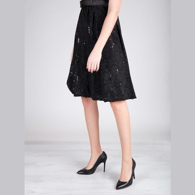 Black leather pumps bata, black , 726-6645 - 18