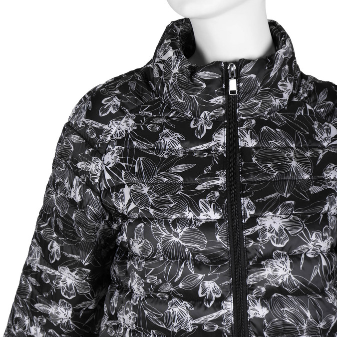 Ladies' quilted jacket with floral pattern bata, black , 979-6316 - 16