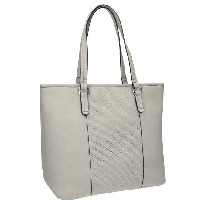 Ladies' handbag with perforated detail bata, gray , 961-2711 - 13