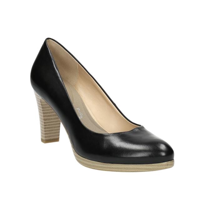 Ladies´ leather pumps pillow-padding, black , 724-6641 - 13