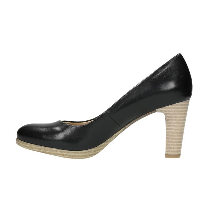 Ladies´ leather pumps pillow-padding, black , 724-6641 - 26