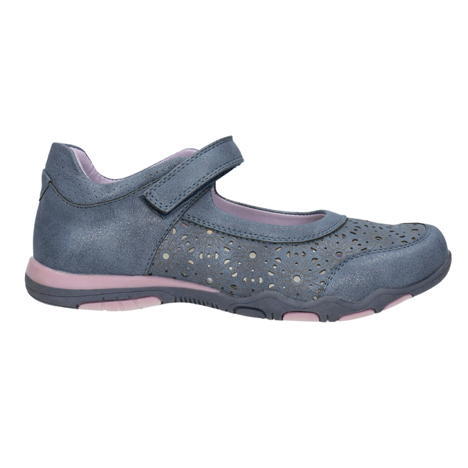 Girls' ballet pumps with strap across instep bubblegummer, blue , 321-9603 - 15