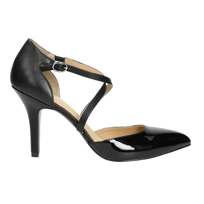 Leather pumps with straps across instep, black , 728-6641 - 15