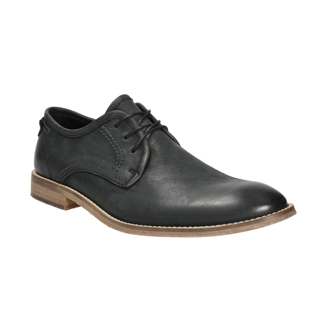 Men's leather shoes with distinctive stitching bata, black , 826-6815 - 13