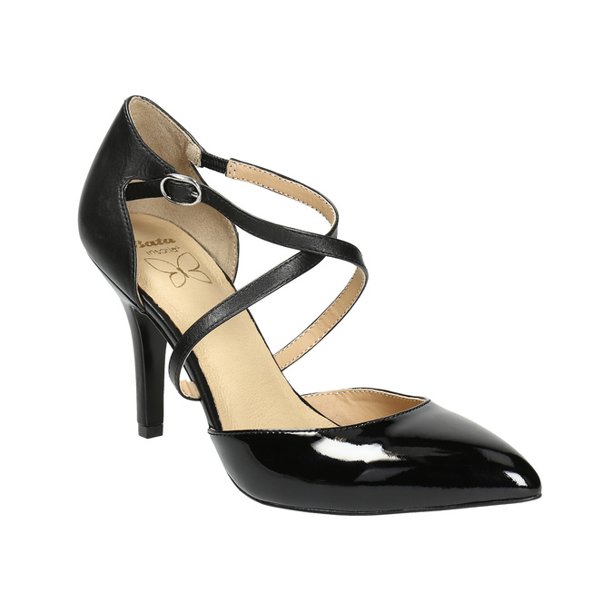 Leather pumps with straps across instep, black , 728-6641 - 13