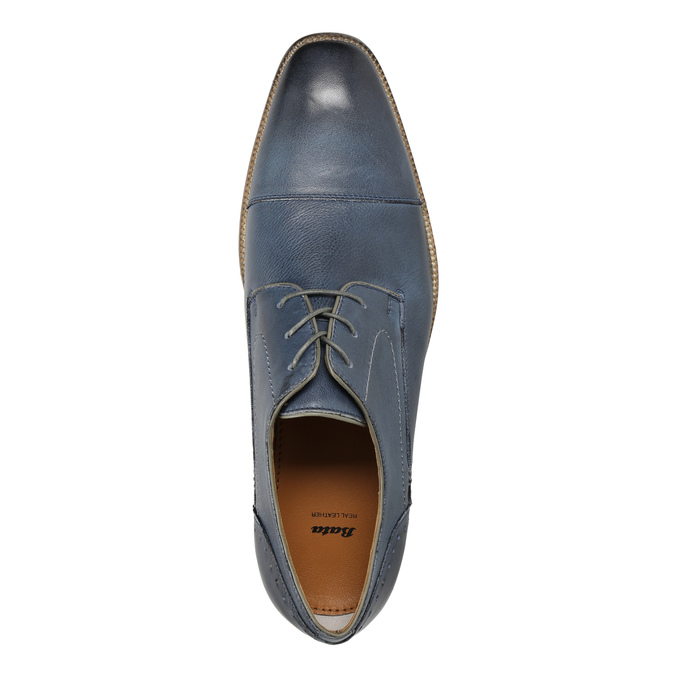 Blue leather shoes bata, blue , 826-9801 - 19