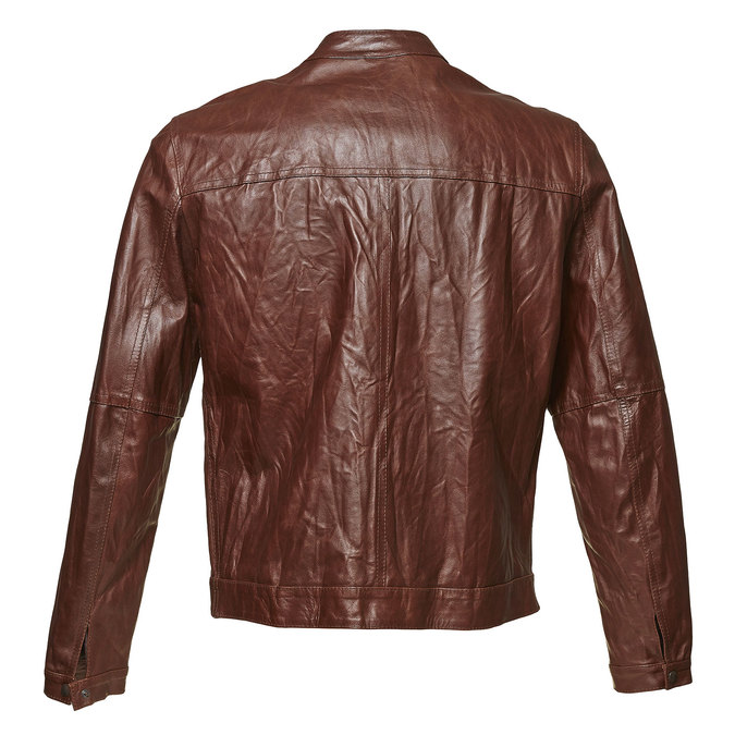 Women's leather jacket with trendy quilting bata, brown , 974-4142 - 26