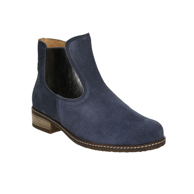 Brushed leather high ankle boots gabor, blue , 613-9013 - 13