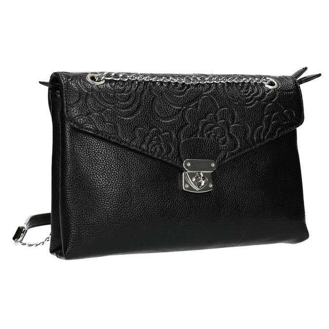 Small black handbag with flap bata, black , 961-6731 - 13