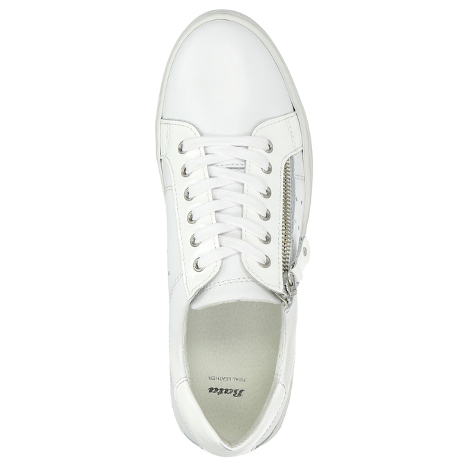 Leather ladies' sneakers with a zipper bata, white , 526-2630 - 26