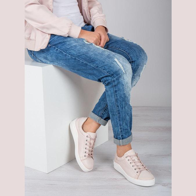Ladies' leather sneakers bata, pink , 526-5641 - 19