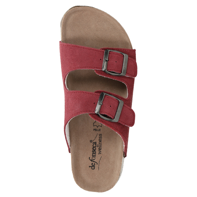 Ladies' leather sandals de-fonseca, red , 573-4621 - 19