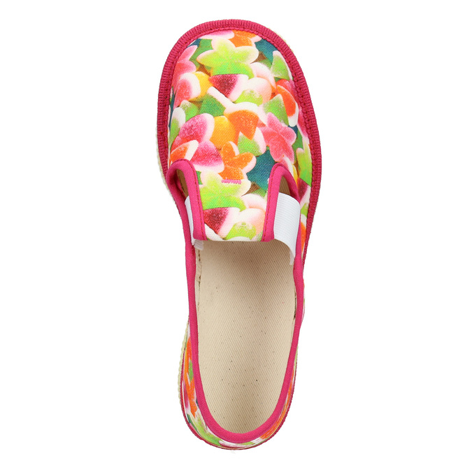 Children's patterned slip-ons bata, pink , 379-5125 - 15
