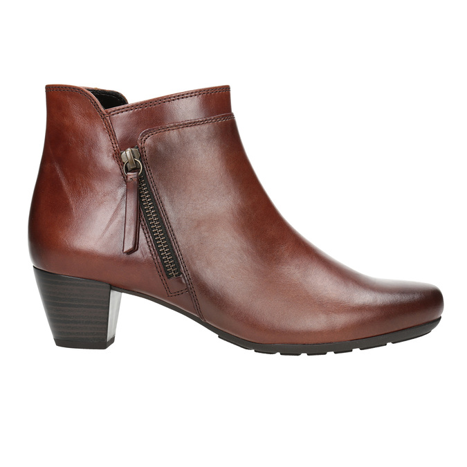 Leather Low-Heeled Ankle Boots gabor, brown , 616-3112 - 26