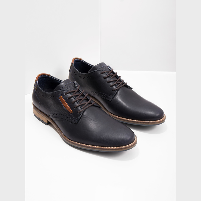 Informal leather shoes bata, blue , 826-9910 - 18