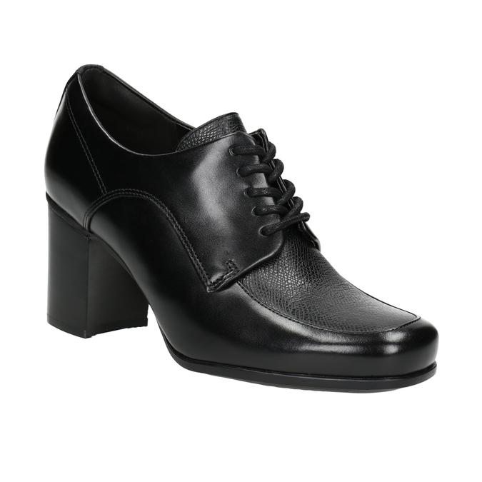 Leather Ankle Boots with Heel clarks, black , 724-6039 - 13