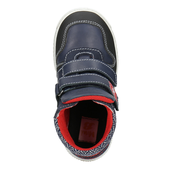 Leather high-top sneakers mini-b, blue , 214-9203 - 15