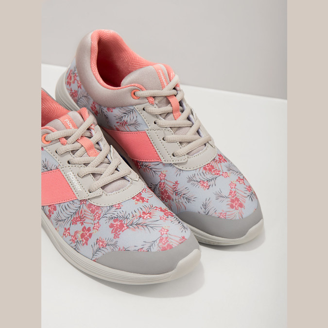 Sneakers with a floral pattern power, gray , 509-2203 - 19