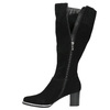 Black brushed leather high boots bata, black , 693-6603 - 26