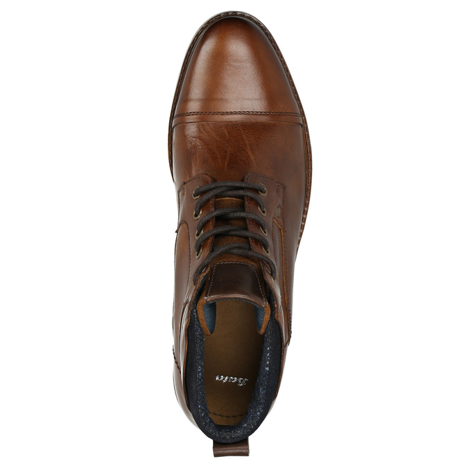 Brown leather ankle boots bata, brown , 896-3674 - 26