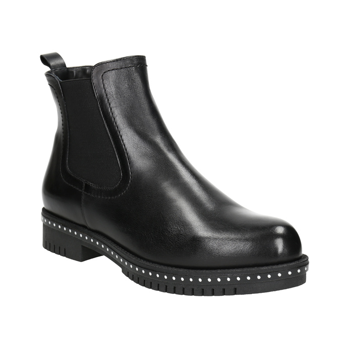 Ladies' leather Chelsea boots with massive sole bata, black , 596-6677 - 13