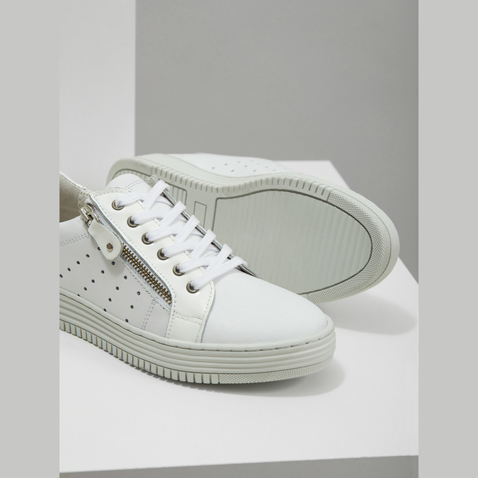 Leather ladies' sneakers with a zipper bata, white , 526-2630 - 14