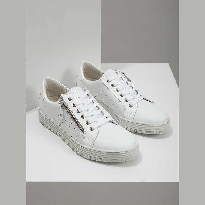 Leather ladies' sneakers with a zipper bata, white , 526-2630 - 18
