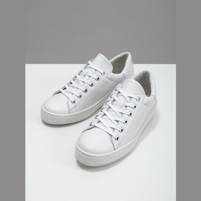 White leather sneakers bata, white , 526-1641 - 18