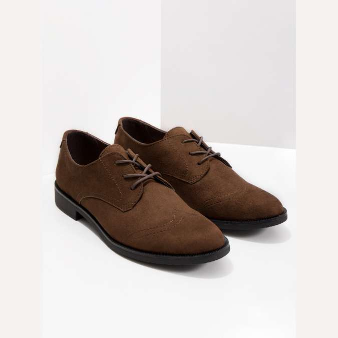 Ladies' brown shoes with stitching bata, brown , 529-4632 - 18