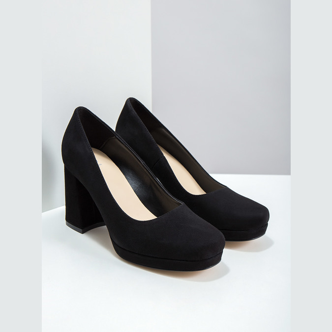 Leather Pumps with Chunky Heel bata, black , 723-6950 - 18