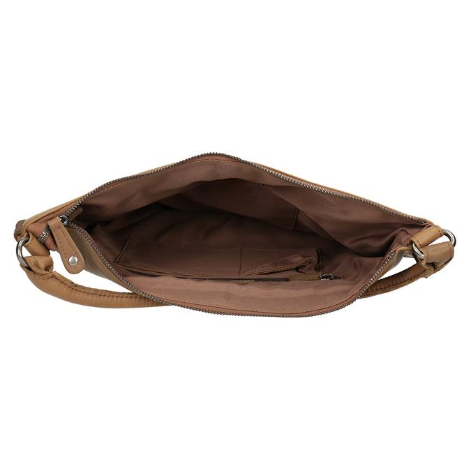 Leather Handbag with Weaving fredsbruder, brown , 963-3005 - 15