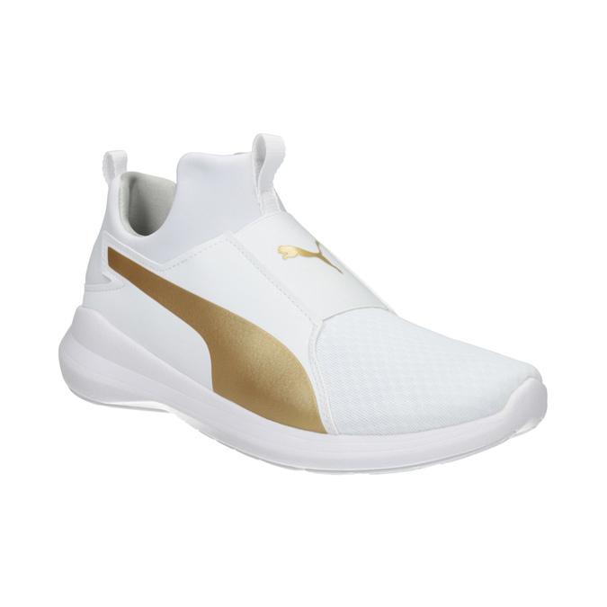 White Ladies' Sneakers with Gold Stripe puma, white , 509-1200 - 13