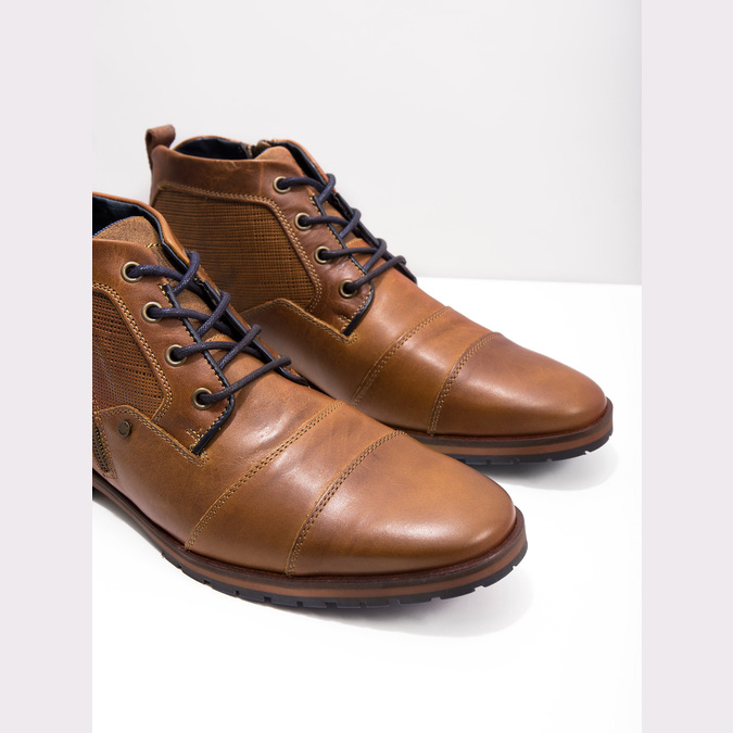 Leather ankle boots with a zipper bata, brown , 826-3911 - 18