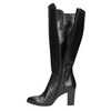 Leather heeled high boots bata, black , 794-6356 - 26
