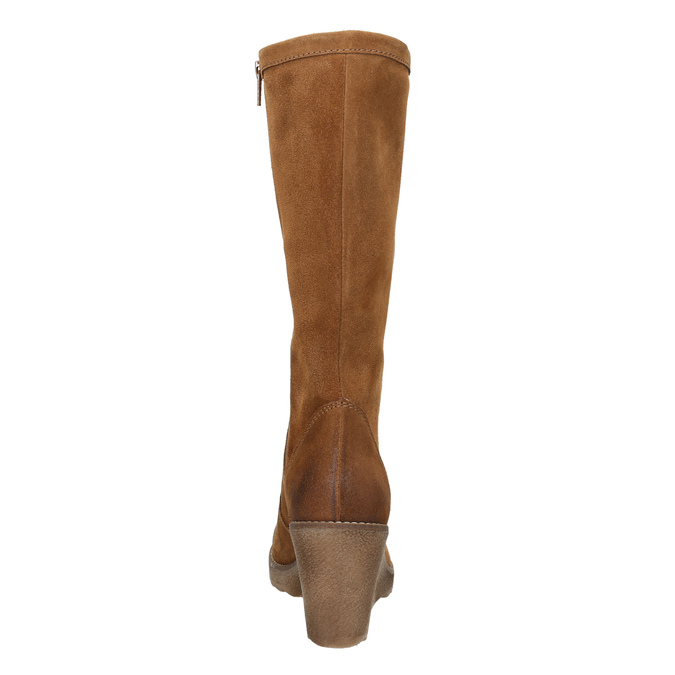 Brown Leather High Boots bata, brown , 793-4607 - 17