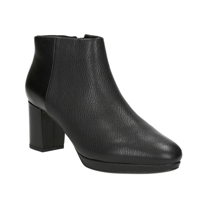 Leather Ankle Boots with Heel clarks, black , 714-6036 - 13