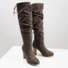 Ladies' wrinkled high boots bata, brown , 799-4614 - 18