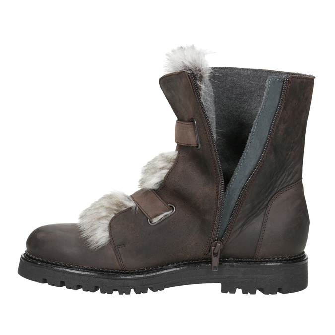 Ladies' Leather High Boots with Fur bata, brown , 594-4656 - 15