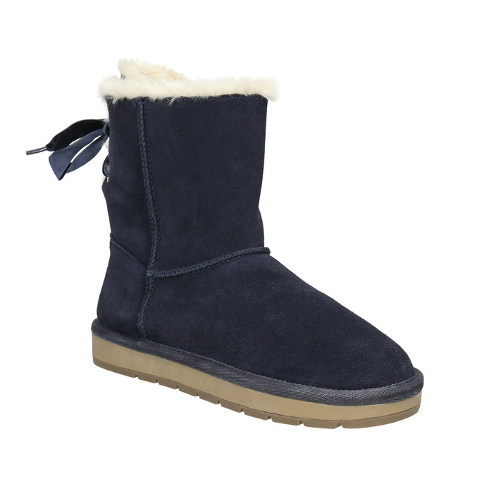Ladies' Casual Leather Boots bata, blue , 593-9604 - 13