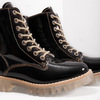 Patent leather ankle boots with massive sole weinbrenner, black , 598-6604 - 14